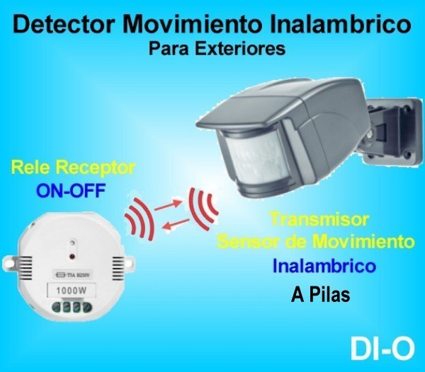 Sensor de Movimiento Inalambrico para Exterior a Pilas + Rele ON-OFF
